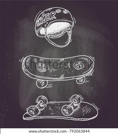 doodle chalk skateboard