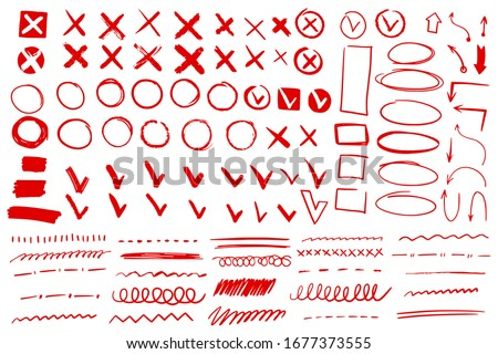 Doodle check mark and underline. Hand drawn red check tick stroke. Cross, circle arrow mark for list items yes or no checklist vector pencil handwritten icons Сток-фото ©