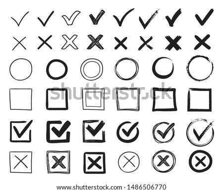 Doodle check marks. Hand drawn checkbox, examination mark and checklist marks. Check signs sketch, voting agree checklist mark or examination task list. sign Isolated vector illustration symbols set