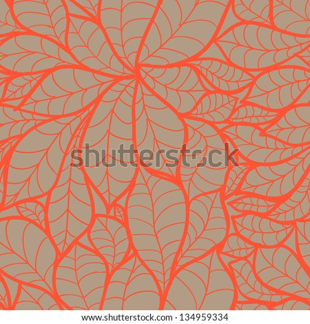 Doodle chestnut leaves seamless pattern.