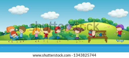 Doodle children playing in the park illustration