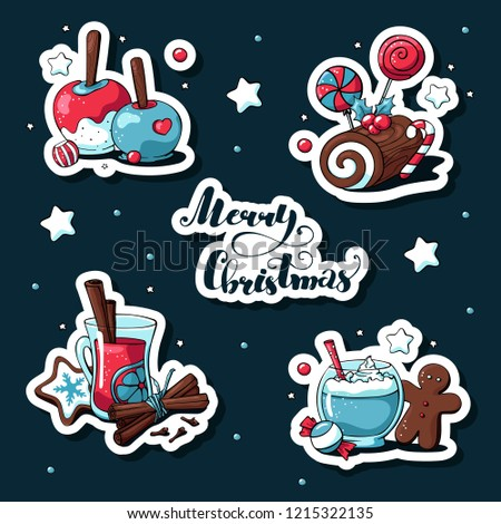 Doodle christmas stickers set. Merry christmas lettering. Hand drawn images of caramel apple, mulled wine, сhristmas log, gingerbread man, cinnamon, stars, cocoa, сhristmas cookies.