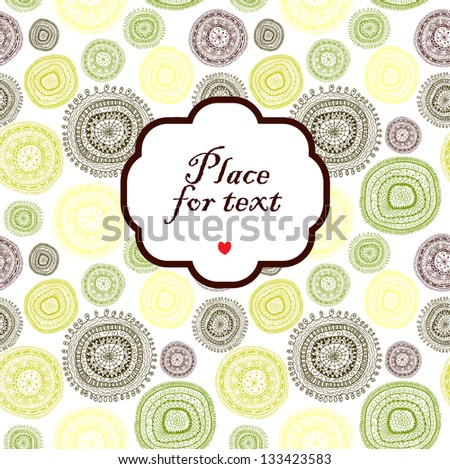 Doodle circles background with a frame.