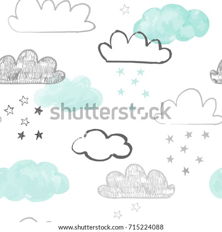 doodle clouds pattern hand