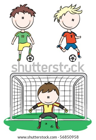 Doodle collection of cheerful soccer players