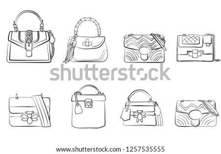 d63320bb doodle collection set of women's bags clutch isolated on white background  fashion illustration vector
