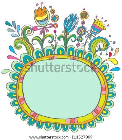Doodle color frame with birds and flowers for your design,vector  illustration