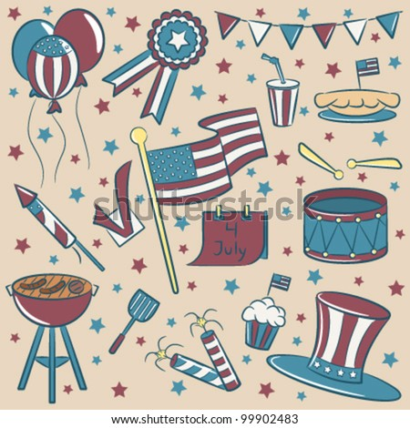 Doodle color objects on the independence day theme vintage style