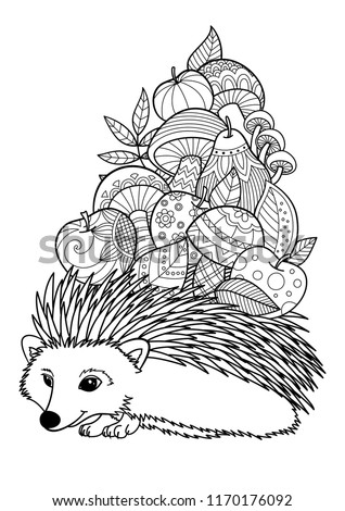 Doodle coloring anti stress book page cute hedgehog with fruits and mushrooms.  For adults and children