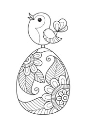 Doodle coloring book page easter egg and bird. Stock vector illustration