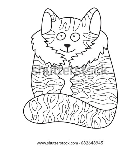Doodle coloring book page funny cat. Anti-stress coloring for adults ...