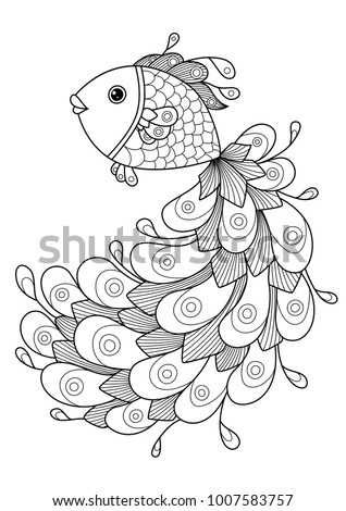Doodle coloring book page goldfish. Antistress coloring for adults and children