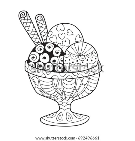 doodle coloring book page ice