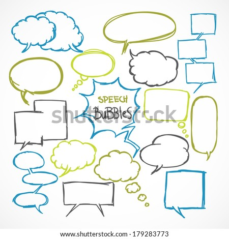 Doodle comic speech bubbles design elements set isolated vector illustration