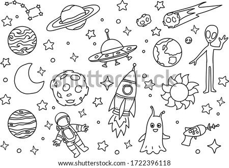 Doodle cosmos illustration set, design elements for any purposes. Hand drawn abstract space ship, planets, stars and ufo. Vector line print or banner.