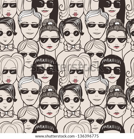 "Doodle ""crowd in sunglasses"" seamless pattern."