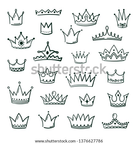 Doodle crowns. Sketch crown queen king coronet urban grunge ink art crowning vintage coronal icons majestic tiara isolated vector image set