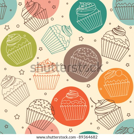 Doodle cupcakes pattern
