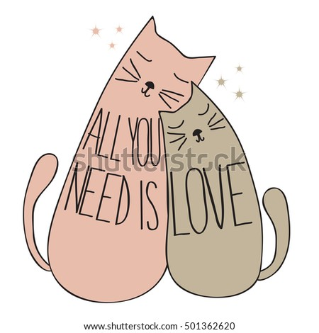 doodle cute cats  with quote
