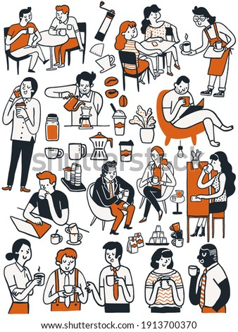 Doodle cute character collection of many people, man and woman, enjoy drinking coffee in various poses. Multi-ethnic, coffee lover concept. Hand drawn sketch design, simple style.
