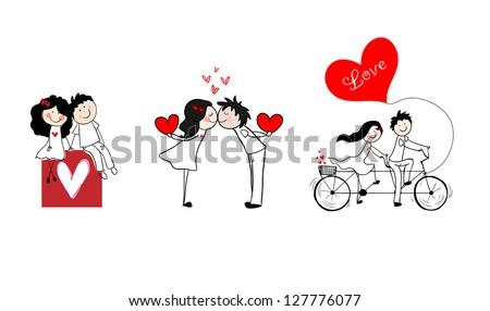 doodle cute couples set