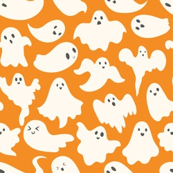 Doodle cute ghosts Haloween seamless pattern. Background with simple spooky character or scary ghostly monsters.