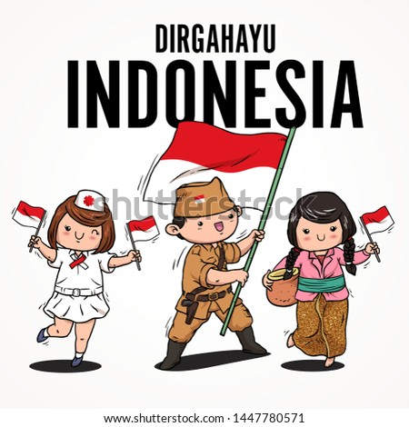 doodle cute kids hold indonesian flag. dirgahayu indonesia mean happy independence day of indonesia #1447780571