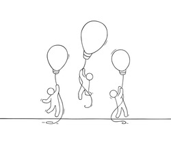 Doodle cute miniature scene of workers with flying lamp idea. Sketch concept about success and leadership. Hand drawn cartoon vector illustration for business design.