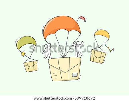 Doodle cute miniature scene of workers with flying letters. Sketch concept about delivery and post. Hand drawn cartoon vector illustration for business design.