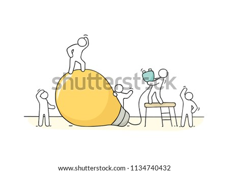 Doodle cute miniature scene of workers with lamp idea. Sketch concept about creative. Hand drawn cartoon vector illustration for business design.