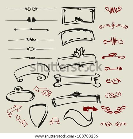 Doodle decorative design elements, page decor, frames, banners, ribbons