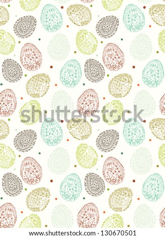 Doodle decorative eggs for Easter. Seamless pattern.