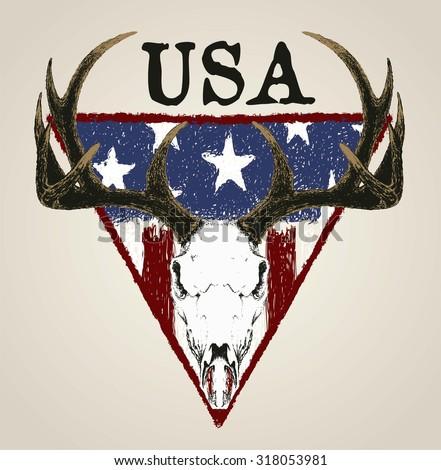doodle deer skull and grunge