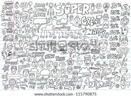 Doodle Design Elements Vector Illustration Set