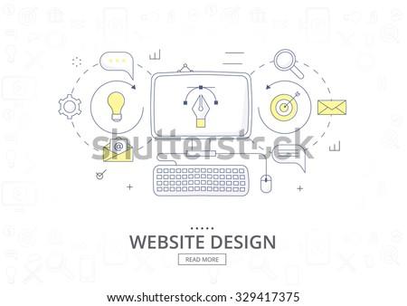 Doodle design style concept  banner for graphic design and web design. Website design development. Graphic design and web design icons. Modern line style illustration.