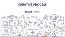 Doodle design style concept of creativity, imagination and design thinking. Modern linear style illustration for web banners, hero images, printed materials