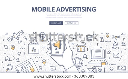 Doodle design style concept of digital advertising technologies on mobile devices