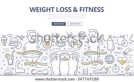 Doodle design style concept of healthy lifestyle, controlling body mass weight, dieting and fitness. Modern line style illustration for web banners, hero images, printed materials