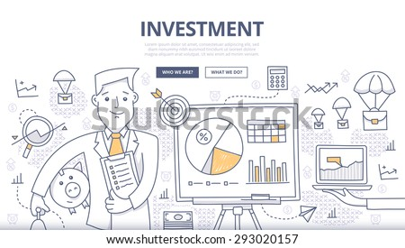 Doodle design style concept of making investments, crowd funding, growing business profit, building effective financial strategy. Modern concepts for web banners, online tutorials, printed materials