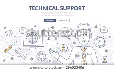 Doodle design style concept of technical support, online call center, customer care service. Modern line style concepts for web banners, online tutorials, printed and promotional materials