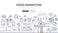 Doodle design style concept of video marketing strategy, product overview, creating explainer video to increase sales. Modern line style illustration for web banners, hero images, printed materials