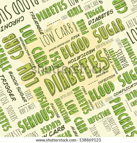 Doodle diabetes, blood sugar, or health care background with hand drawn words.  Vector format.