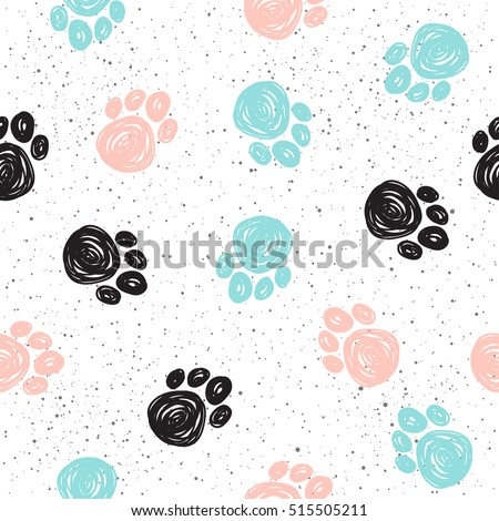 doodle dog paw seamless