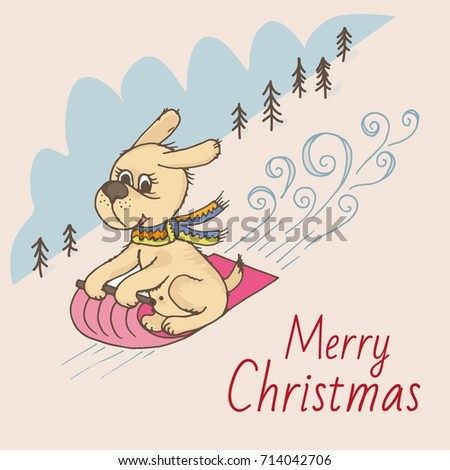 Doodle dog rolls down the mountain on a sleigh, merry Christmas greeting card #714042706