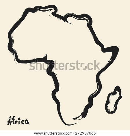 Doodle Drawing Africa Continent