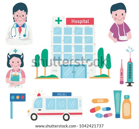 Doodle drawing hospital building with medical elements: doctor, nurse, medicine, ambulance and patient set, dotted texture flat, style, all isolated on white background, illustration, vector
