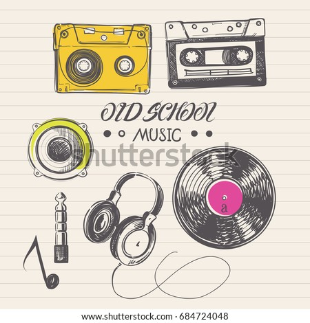 Doodle Drawings of Audio Cassettes, Vinyl Records, Headphones and Retro Music Accessories
