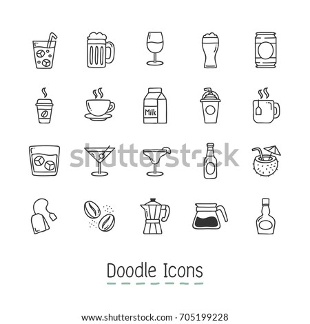 Doodle Drinks Icons. Hand Drawn Icon Set.