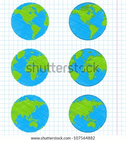 Doodle earth globes set