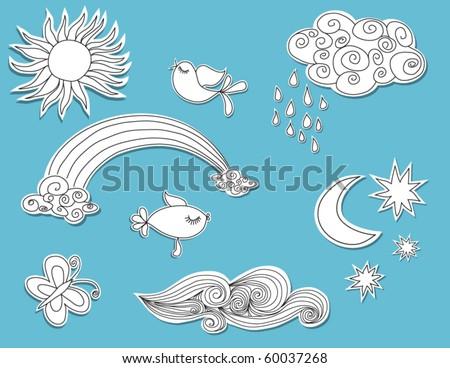 doodle elements  nature  paper